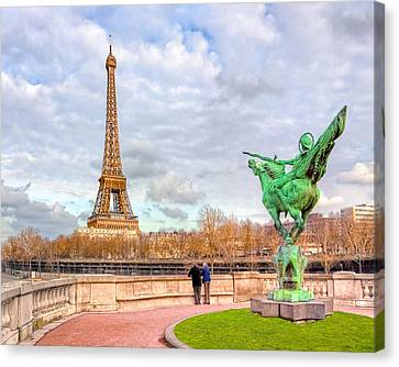 Joan Of Arc And The Eiffel Tower Canvas Print by Mark E Tisdale