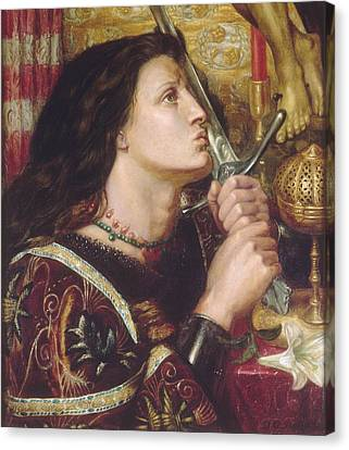 Joan Of Arc Kisses The Sword Of Liberation Canvas Print by Philip Ralley