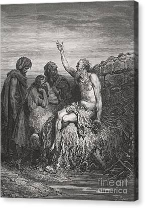 Job And His Friends Canvas Print by Gustave Dore