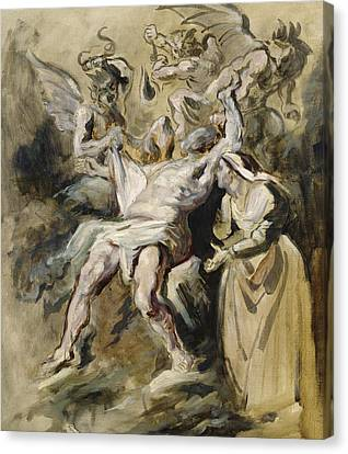 Job Tormented By The Demons Canvas Print by Ferdinand Victor Eugene Delacroix