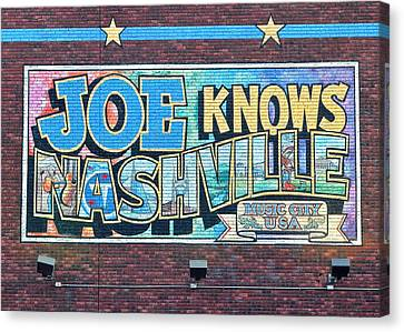 Joe Knows Nashville Canvas Print by Frozen in Time Fine Art Photography