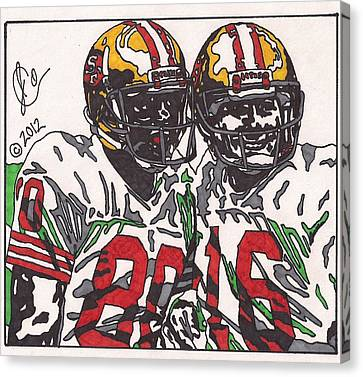 Joe Montana And Jerry Rice Canvas Print by Jeremiah Colley