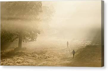 Joggers In Richmond Park London On A Crisp Foggy Autumn Morning Canvas Print by Matthew Gibson