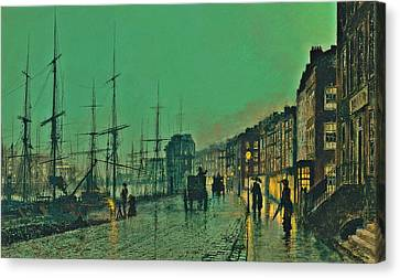 John Atkinson Grimshaw Shipping On The Clyde 1881 Canvas Print by Movie Poster Prints
