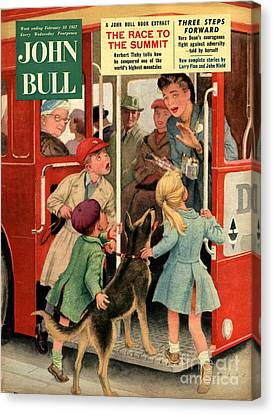 John Bull 1957 1950s Uk Dogs Buses Canvas Print by The Advertising Archives