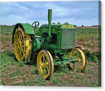 John Deere Tractor Hdr Canvas Print by Ken Smith