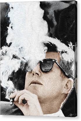 John F Kennedy Cigar And Sunglasses Canvas Print by Tony Rubino