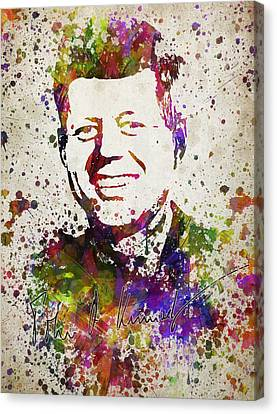 John F Kennedy In Color Canvas Print by Aged Pixel