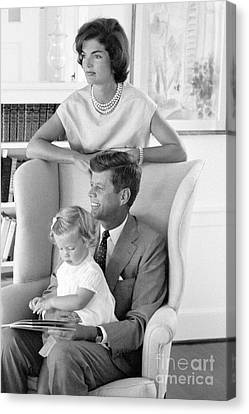 John F. Kennedy With Jacqueline And Caroline 1959 Canvas Print by The Phillip Harrington Collection