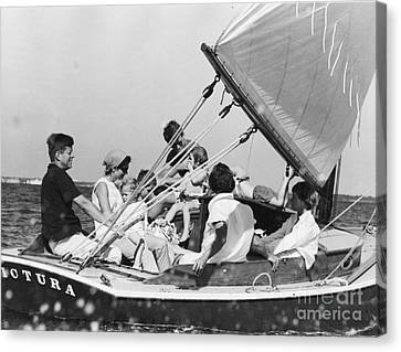 John Kennedy With Robert And Jacqueline Sailing Canvas Print by The Phillip Harrington Collection