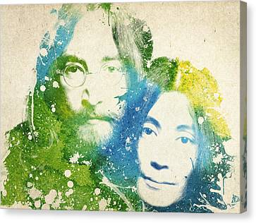 John Lennon And Yoko Ono Canvas Print by Aged Pixel