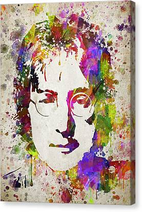 John Lennon In Color Canvas Print by Aged Pixel