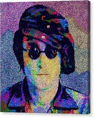 John Lennon Mosaic Canvas Print by Jack Zulli