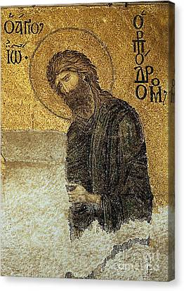 John The Baptist-detail Of Deesis Mosaic  Hagia Sophia-judgement Day Canvas Print by Urft Valley Art