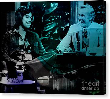 Johnny Carson And Freddie Prince Jr Canvas Print by Marvin Blaine