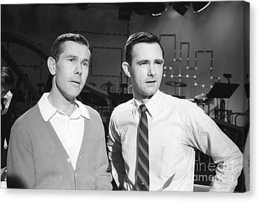 Johnny Carson With His Brother Dick Carson 1963 Canvas Print by The Phillip Harrington Collection