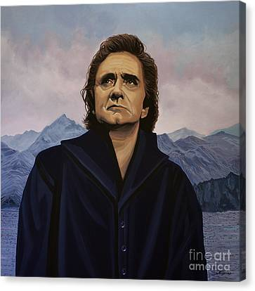 Johnny Cash Painting Canvas Print by Paul Meijering