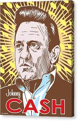 Johnny Cash Pop Art Canvas Print by Jim Zahniser
