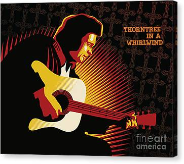 Johnny Cash Thorntree In A Whirlwind Canvas Print by Sassan Filsoof