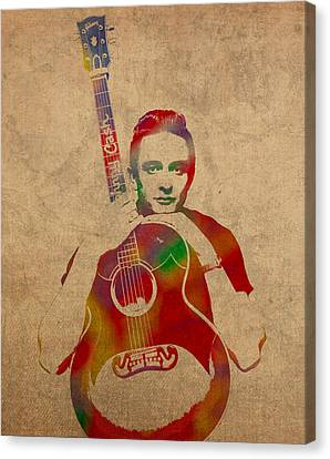 Johnny Cash Watercolor Portrait On Worn Distressed Canvas Canvas Print by Design Turnpike
