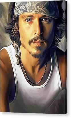 Johnny Depp Artwork Canvas Print by Sheraz A