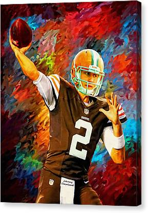Johnny Manziel Cleveland Browns Football Art Painting Canvas Print by Andres Ramos