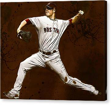 Jon Lester Former Boston Red Sox Canvas Print by Dennis Wickerink