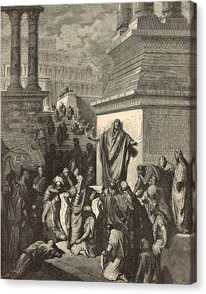 Jonah Calling Nineveh To Repentance Canvas Print by Antique Engravings