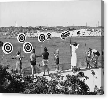 Jones Beach Archery Range Canvas Print by Underwood Archives