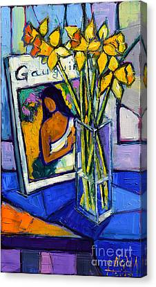 Jonquils And Gauguin Canvas Print by Mona Edulesco