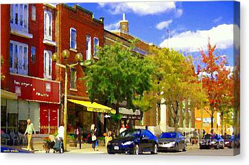 Jos Pappos Furs Street Scene Suburban Shops And Store Fronts Sherbrooke Montreal Carole Spandau Art  Canvas Print by Carole Spandau