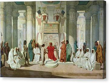 Joseph Explaining Pharaohs Dreams Oil On Canvas Canvas Print by Jean Adrien Guignet