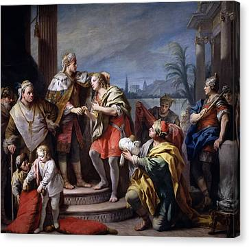 Joseph In The Pharaohs Palace Canvas Print by Jacopo Amigoni