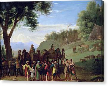 Joseph Sold By His Brothers Oil On Canvas Canvas Print by Herman van Swanevelt