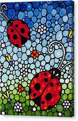 Joyous Ladies Ladybugs Canvas Print by Sharon Cummings