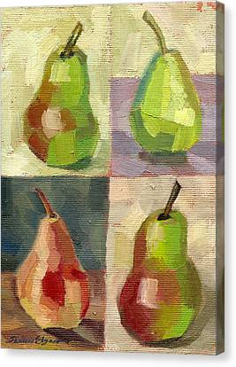 Juicy Pears Four Square Canvas Print by Shalece Elynne