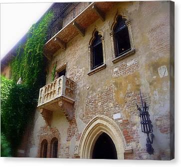 Juliet's Balcony In Verona Canvas Print by Jodie Marie Anne Richardson Traugott          aka jm-ART