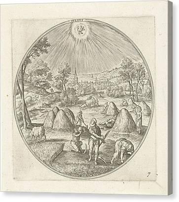 July, Adriaen Collaert, Hans Bol Canvas Print by Adriaen Collaert And Hans Bol And Claes Jansz. Visscher (ii)