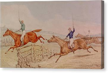 Jumping A Fence Canvas Print by Henry Thomas Alken