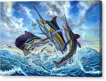 Jumping Grand Slam And Flyingfish Canvas Print by Terry  Fox