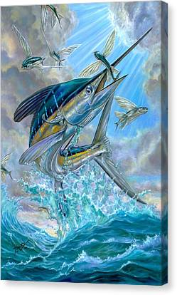 Jumping White Marlin And Flying Fish Canvas Print by Terry Fox