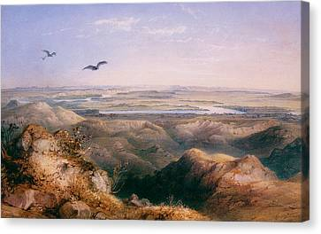 Junction Of The Yellowstone And The Issouri Canvas Print by Karl Bodmer