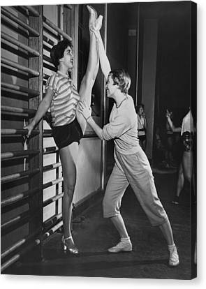 June Taylor Stretches Dancer Canvas Print by Underwood Archives