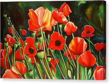June Wearing Red Canvas Print by Sheila Diemert