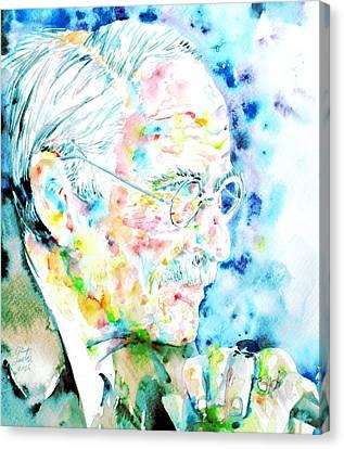 Jung - Watercolor Portrait.1 Canvas Print by Fabrizio Cassetta