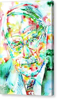 Jung - Watercolor Portrait.2 Canvas Print by Fabrizio Cassetta