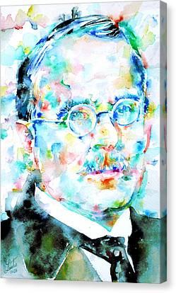 Jung - Watercolor Portrait.3 Canvas Print by Fabrizio Cassetta