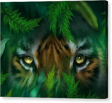 Jungle Eyes - Tiger Canvas Print by Carol Cavalaris