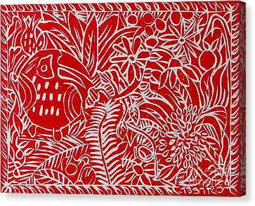Jungle Scene With Toucan Red On White Canvas Print by Caroline Street