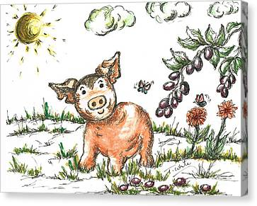 Junior Pig Canvas Print by Teresa White